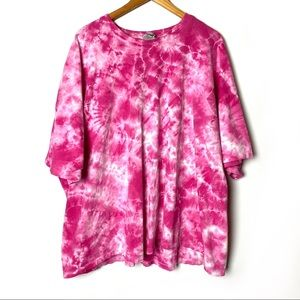 Vintage Fast Tie Dye Short Sleeve Pink T-Shirt Top